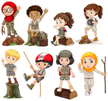 Los niños y niñas en la ilustración del equipo de campamento Ilustración de vector