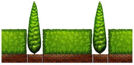 boom: Bomen en struiken langs de weg illustratie Stock Illustratie