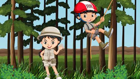 niño trepando: El muchacho y la muchacha que se divierte en la ilustración del bosque