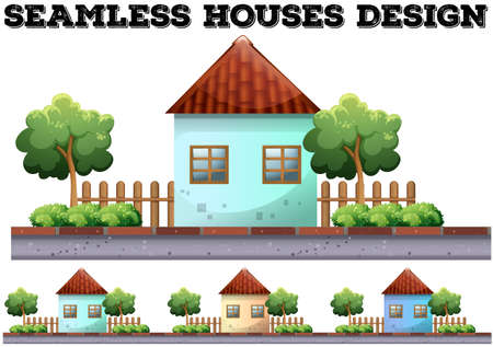 house illustration: Seamless house design on the road illustration