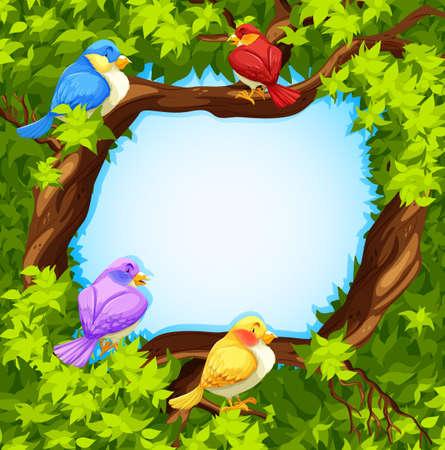 tropical tree: Border design with birds on tree illustration Illustration