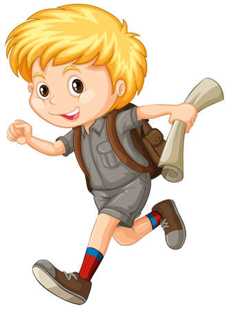 hiking: Boy in camping suit running illustration