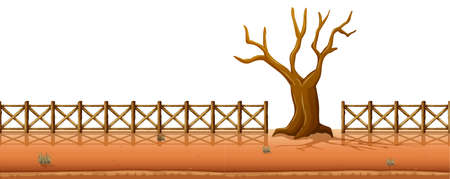 dry: Dry tree with fences along the road illustration Illustration