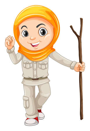 walking stick: Girl in camping suit with walking stick illustration
