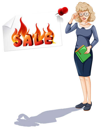 posted: Woman and sale sign posted on wall  illustration