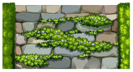 stone wall: Seamless fence design with brick wall and plant illustration Illustration