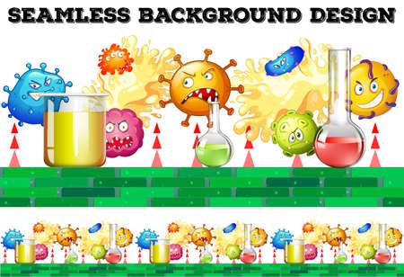 germ: Seamless beakers and bacteria illustration Illustration