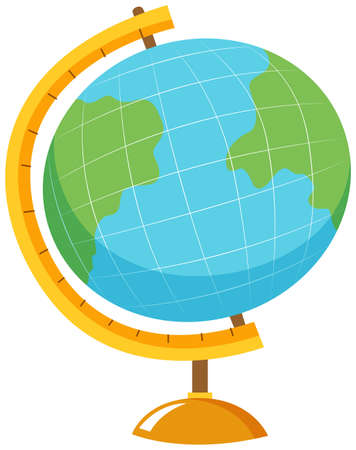 circle objects: Globe with stand on white background illustration Illustration