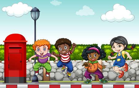 baile hip hop: Niños que hacen la danza del salto de la cadera en la ilustración de la acera