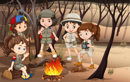 Children circle around the campfire in the woods illustration Illustration