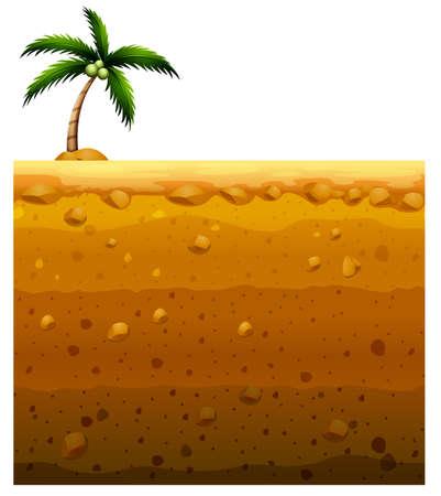 subterránea sin fisuras y la ilustración de árboles de coco Ilustración de vector