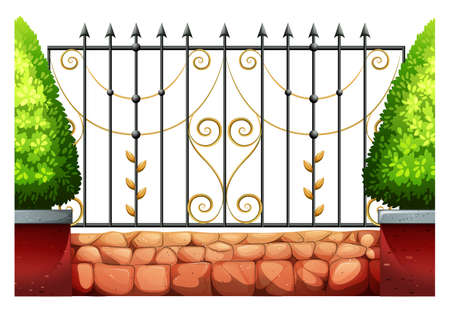 fences: Metal fence with classic design illustration