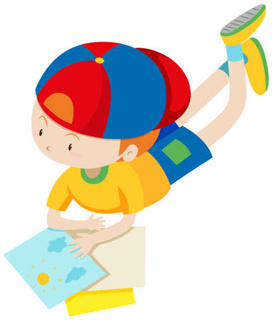 assignments: Little boy looking at the files illustration