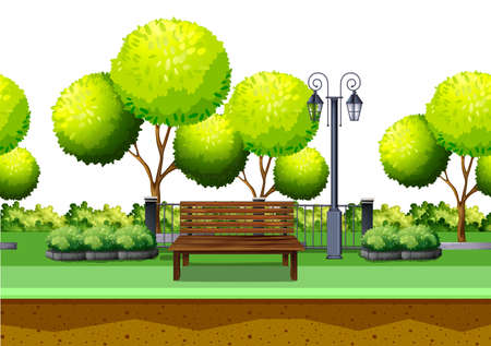 garden bench: Park with tree and seating area illustration