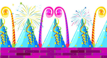 party hats: Seamless party hats and horns illustration Illustration