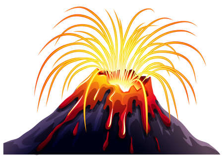 Volcano eruption with hot lava illustration Vectores