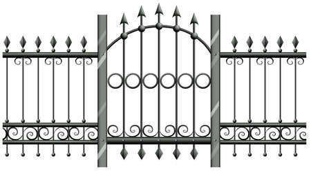 fences: Seamless metal fence with doorway illustration Illustration