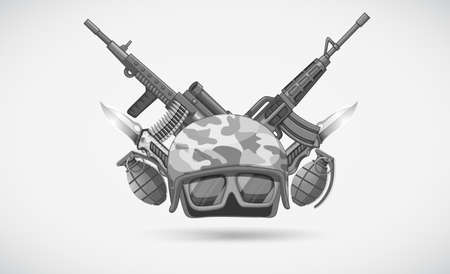 weapons: War theme with helmet and weapons illustration Illustration