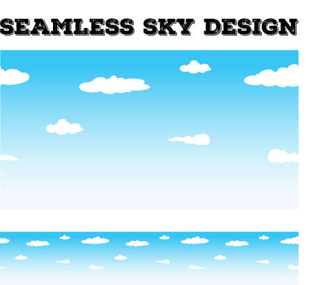 fluffy clouds: Seamless background desing with sky and clouds illustration