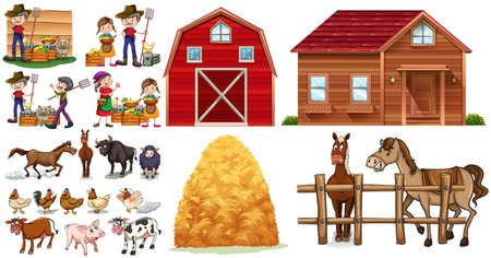 Farmers and animals on the farm illustration