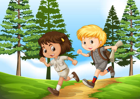 child running: Boy and girl running in the park illustration Illustration
