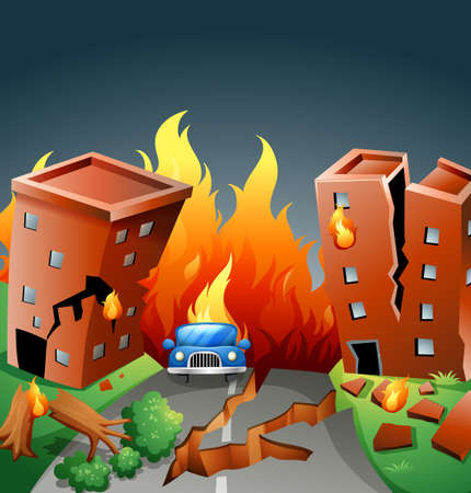 cracking: Earthquake with major fire in the city illustration Illustration