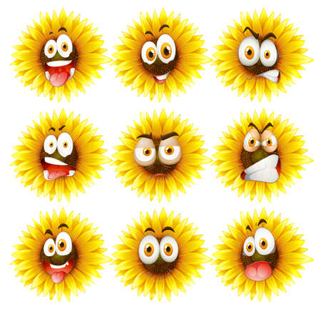 facial expression: Sunflowers with facial expression illustration