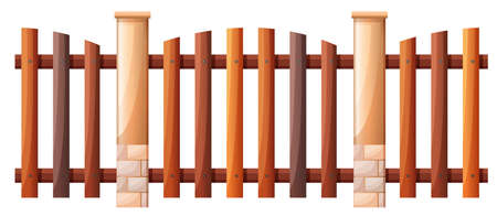 wooden post: Seamless wooden fence design illustration