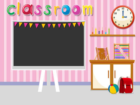 preschool classroom: Empty classroom with blackboard illustration
