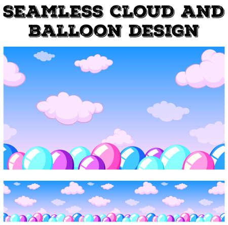 nuvola senza soluzione di continuità e mongolfiera nel cielo illustrazione