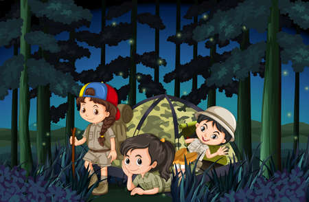 fireflies: Girls camping out in the forest at night illustration