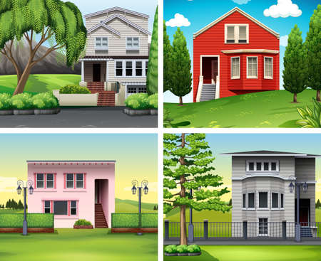 architect drawing: Four scenes of houses and lawn illustration