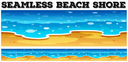 shore: Seamless beach shore at daytime illustration