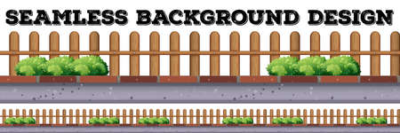 wooden fence: Seamless background design with wooden fence illustration Illustration