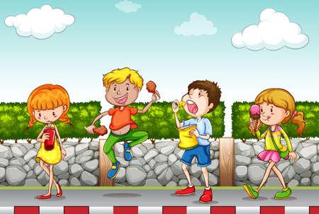 Les enfants de manger et de boire sur le trottoir illustration Banque d'images - 50651740