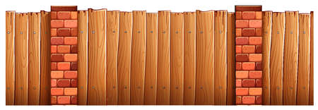 plywood: Wooden fence and brick poles illustration