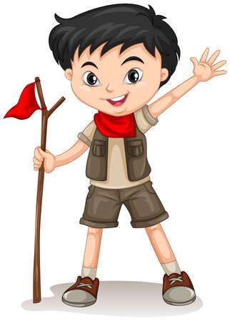 walking stick: Little boy holding a walking stick illustration Illustration