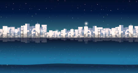 night time: City buildins at night time illustration Illustration
