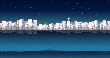 city buildings: City buildins at night time illustration Illustration