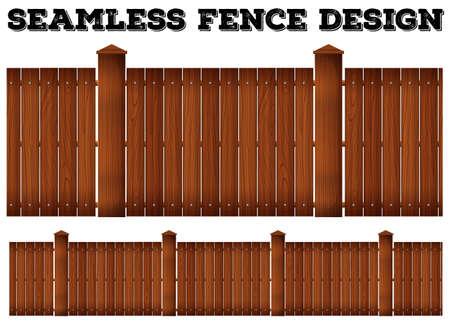 wooden fence: Seamless wooden fence design illustration