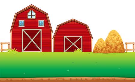 yards: Red barns on the farm illustration