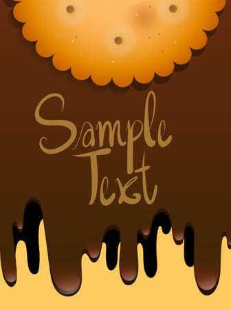 galleta de chocolate: Diseño de papel con la galleta y chocolate de fusión ilustración