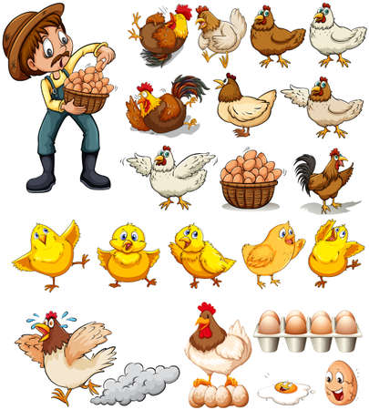 Farmer collecting eggs from chickens illustration