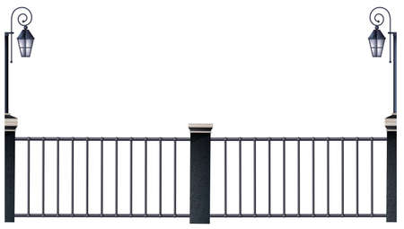 fence: Metal fence and lampposts illustration
