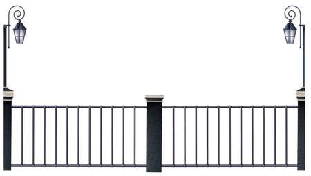 Metalen hek en lantaarnpalen illustratie Vector Illustratie