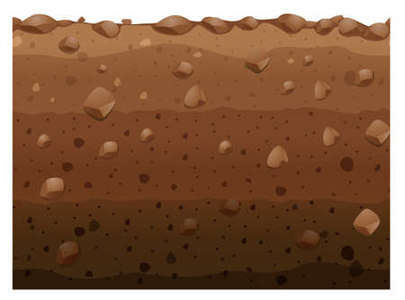 Different layers of soil illustration