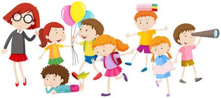 I bambini a fare diverse attività di illustrazione