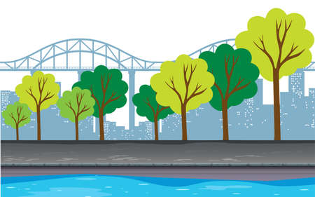 city buildings: Background design with trees and buildings illustration