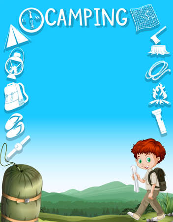 kid illustration: Border design with boy and camping gears illustration