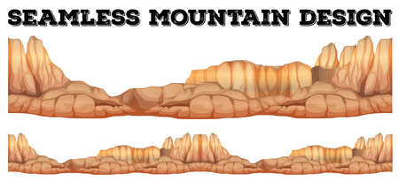 Seamless mountain in canyon illustration